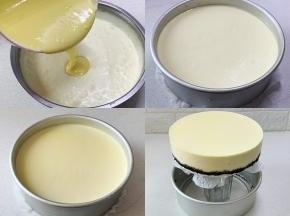 将蛋黄糊与淡奶油混合拌匀,倒入装有奥利奥底的模具中,轻轻摇晃使蛋糕糊平整,放入冰箱冷藏6小时以上,用手从底部轻轻往上推即可脱模。