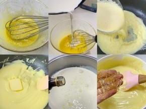①牛奶倒入锅中小火加热至微微冒泡立即关火,从高往下缓慢倒入蛋黄糊中,边倒边搅拌均匀; ②将蛋黄奶液再次倒入锅中,开最小火,边加热边搅拌至蛋黄糊变浓稠变熟,加入黄油快速拌匀后盛出放置温热; ③淡奶油加香草精和柠檬汁,一次性加入20克糖,单个打到头低速打发至浓稠酸奶状。 ④吉利丁片冰水泡软,倒入温热的蛋黄糊里,搅拌至完全融化。