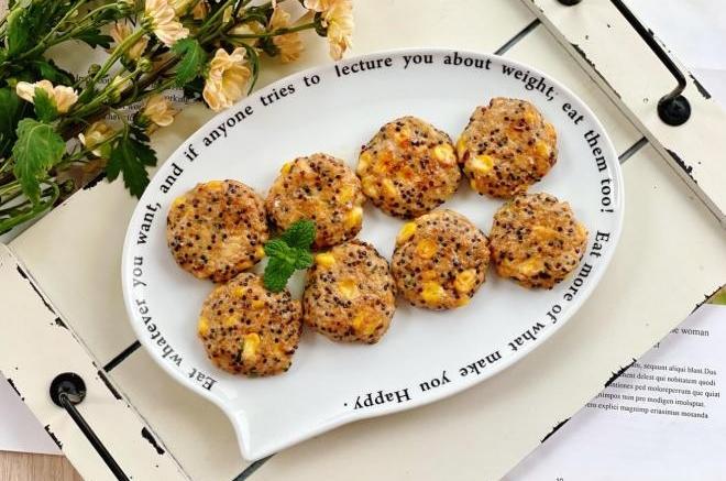 玉米藜麦鸡肉饼,低脂高蛋白,饱腹抗饿